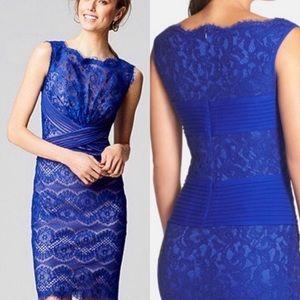 Tadashi Shoji Crisscross Chantilly Blue Lace Dress